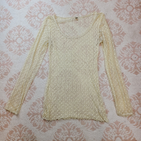 Free People Tops - Free People Ivory Cream Sheer Netted Dot Top